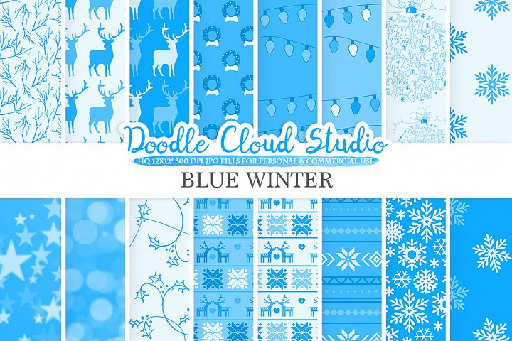 Blue Winter digital paper, Christmas Holiday patterns, Stars Snow deers X-mas backgrounds, Instant Download, for Personal & Commercial Use