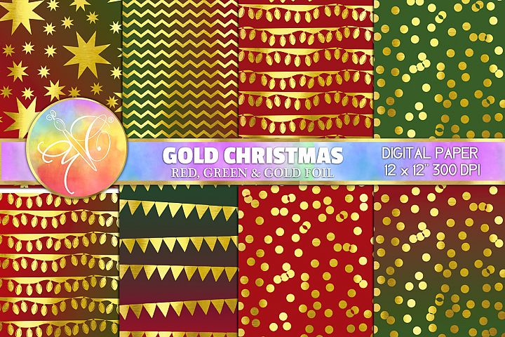 Gold christmas Digital Paper, Digital Background