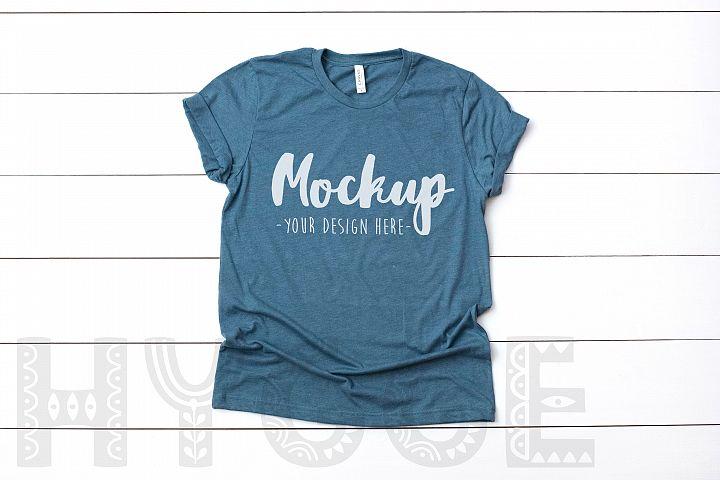 Tshirt Mockup Bella Canvas 3001 Heather Slate Tshirt Mockup