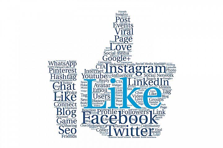 Thumb up shape. Social media Network tag cloud