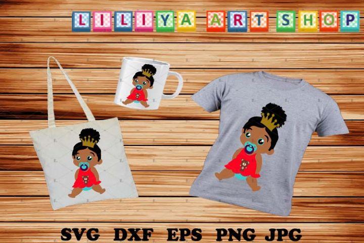 Afro Baby Svg,Baby Girl with Crown Svg,Princess Svg,Kids Svg
