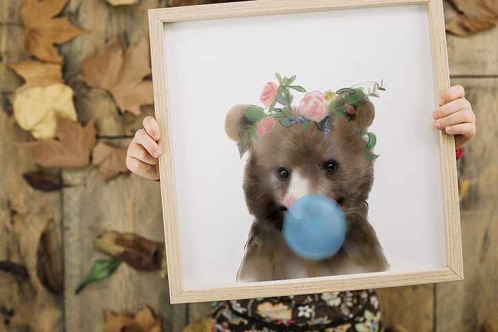 Nursery decor girl ,Bear print ,Animals with flower crowns