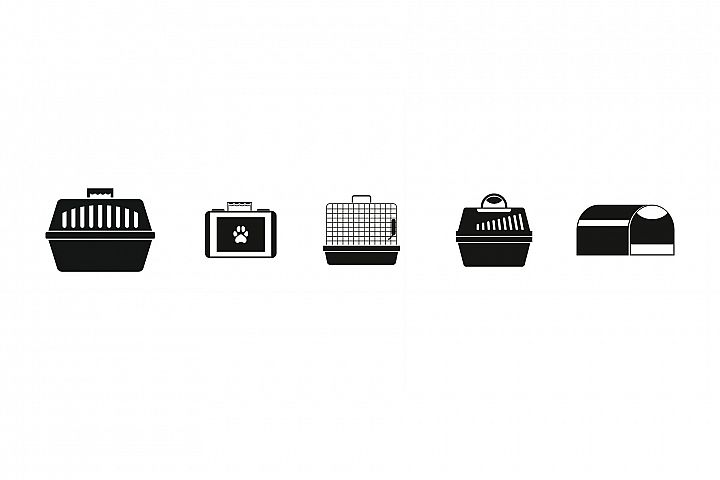 Pet cage icon set, simple style