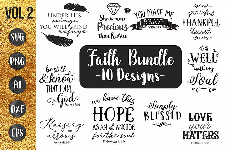 FAITH BUNDLE VOL 2 - 10 designs - svg cut files- Cricut