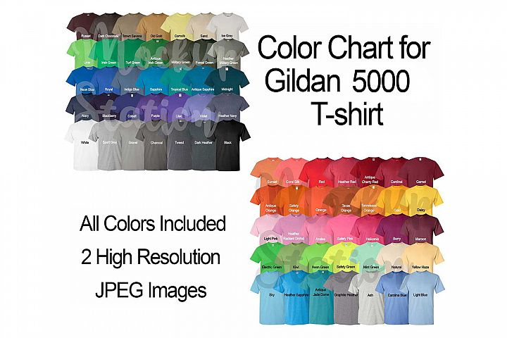 Color Chart for Gildan 5000 T-shirt, Digital Color Chart