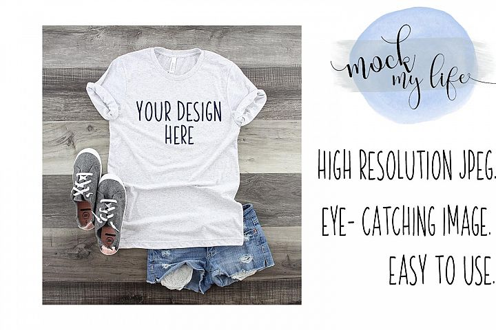 Mockup Bella Canvas Shirt / Flat Lay / White Fleck Shirt