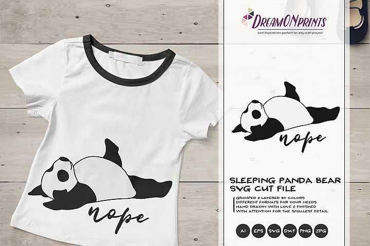 Sleeping Panda Bear SVG | Funny Panda Illustration