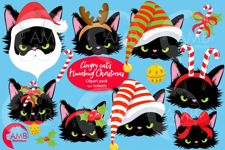Christmas Cat faces Clipart AMB-2693