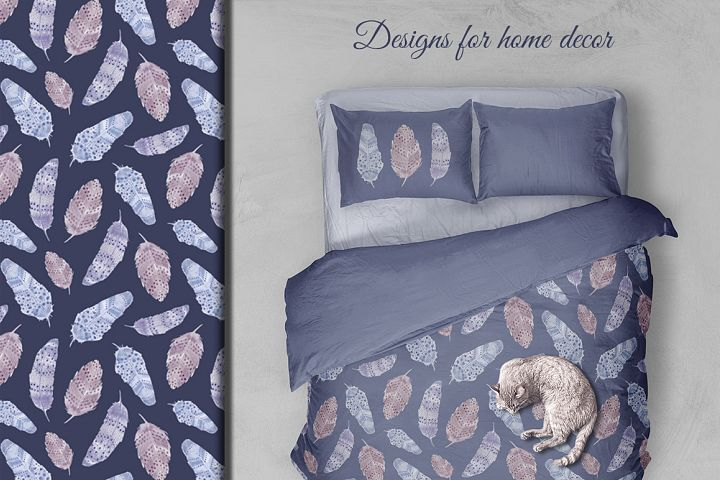 Watercolor feathers Boho - Free Design of The Week Design3