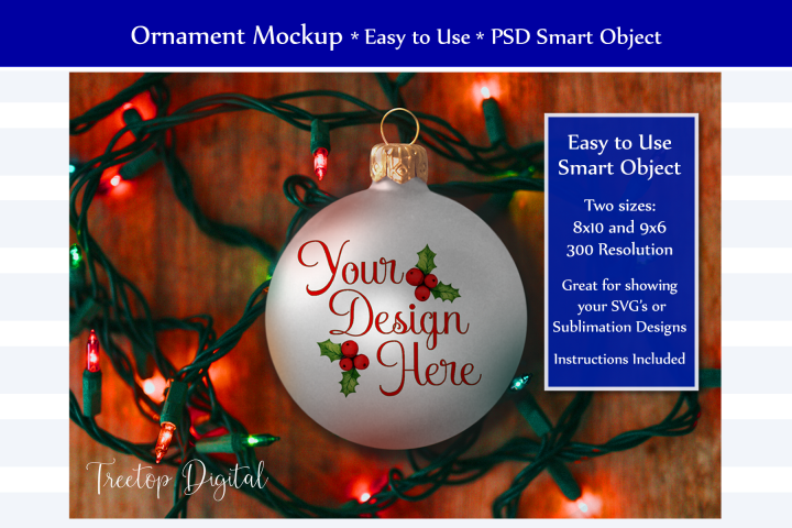 Christmas Ball Mockup Farmhouse Style, PSD Smart Object