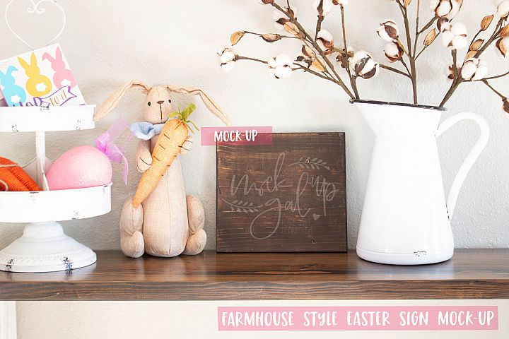 Easter Sign Mock Up - Square Espresso Stained Sign - Spring