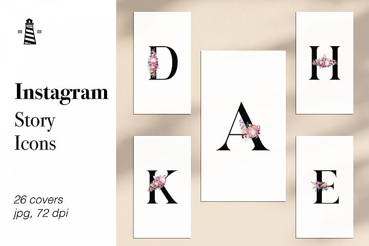 Instagram Icons - Floral Letters