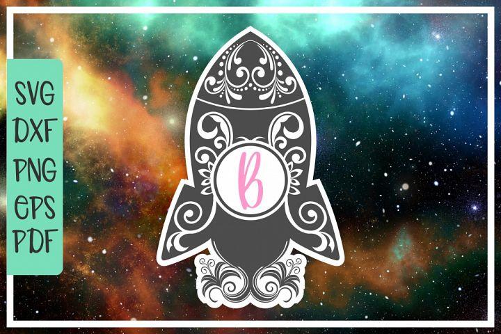 rocket monogram, zentangle, space svg, rocket ship, clip art
