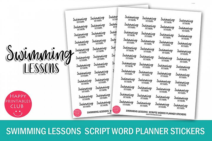 Swimming Lessons Script Words Planner Stickers- Swimming