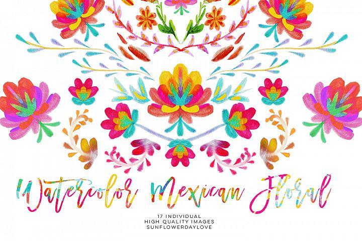 Watercolor mexican floral clipart, fiesta invitation clipart