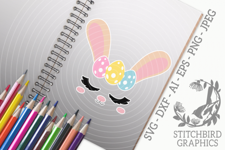 Easter Bunny Head 1 SVG, Silhouette Studio, Cricut, Eps, Dxf