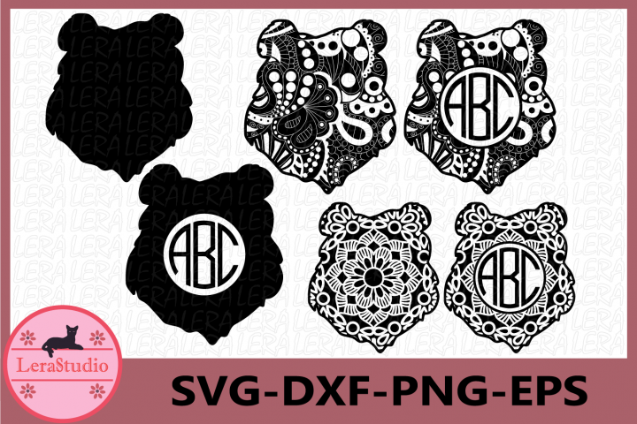 Bear Monogram Svg, Bear Mandala Svg, Bear Zentangle svg