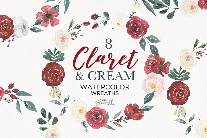 Claret Cream Red Roses Watercolor Floral Wreaths 8 Wedding