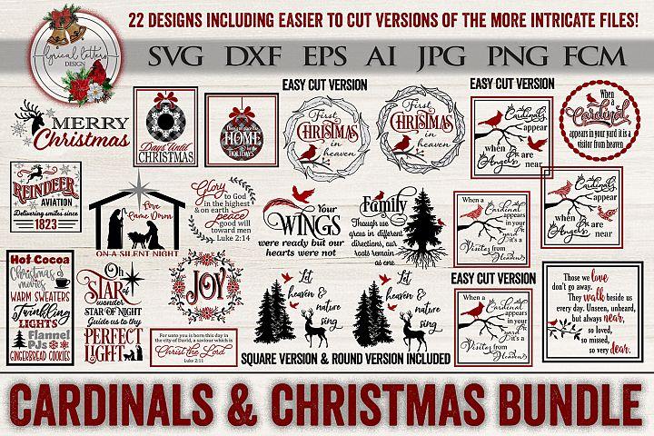 Cardinals & Christmas Bundle of 22 SVG DXF FCM Cut File
