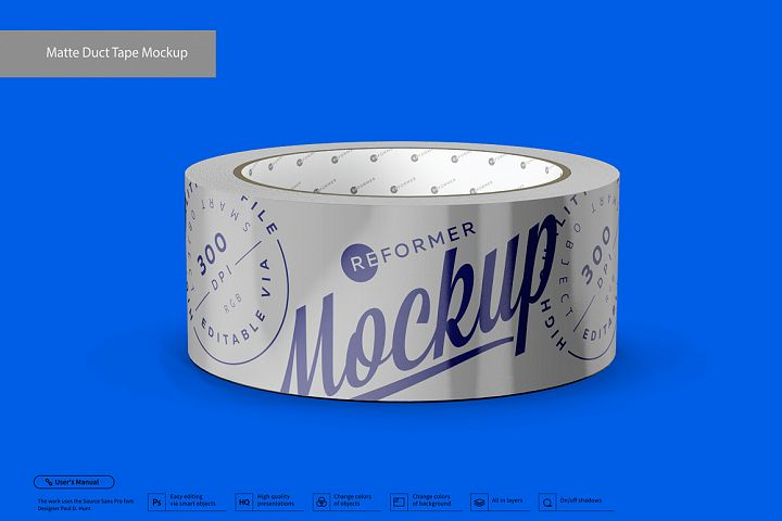 Matte Metallic Duct Tape Mockup