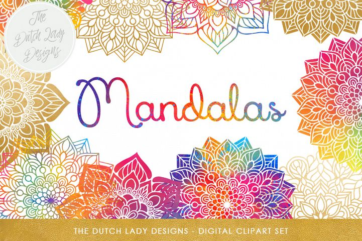 Mandala Clipart Set Rainbow & Gold
