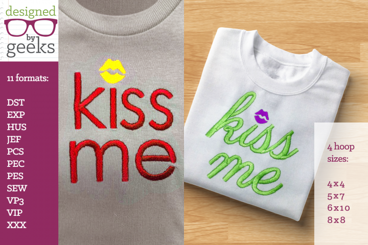 Kiss Me Lips Dot Valentines Day Embroidery Duo