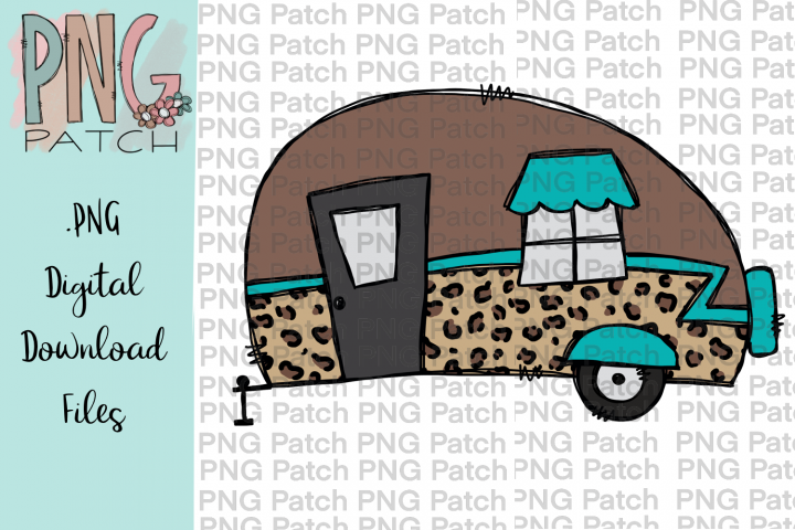 Leopard Print Camper, Camping PNG File, Outdoor Sublimation
