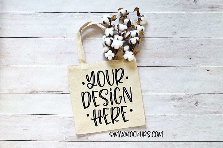 Canvas tote mockup, rustic style bag