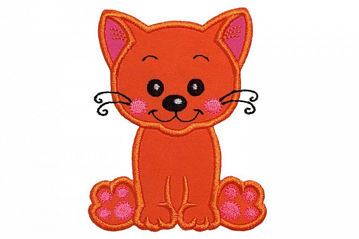 Cat Machine Embroidery Applique Design.