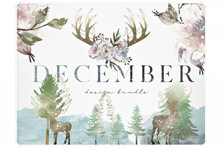 Watercolor Christmas Design Bundle