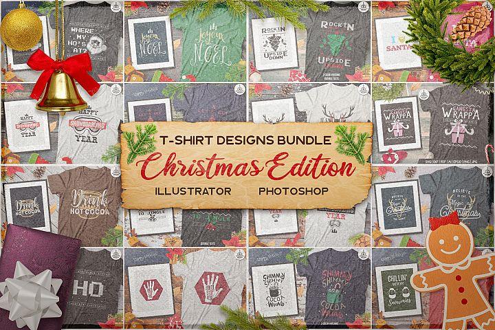 Christmas T-Shirts Bundle, Retro Design. Xmas Tees SVG Files