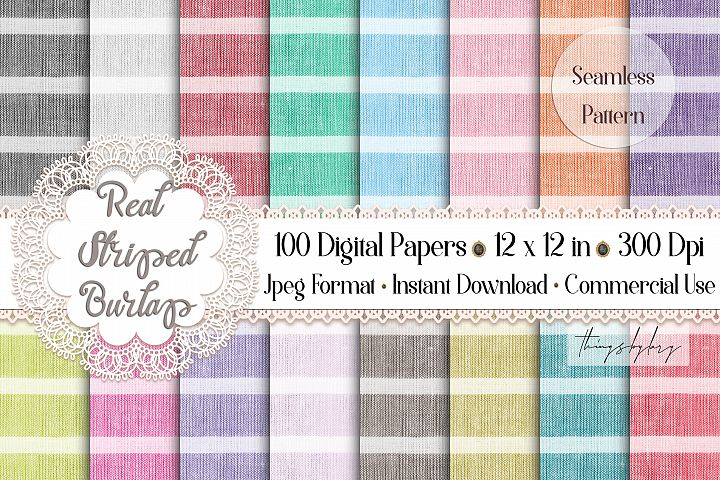 100 Seamless Real Striped Burlap Canvas Linen Digital Papers