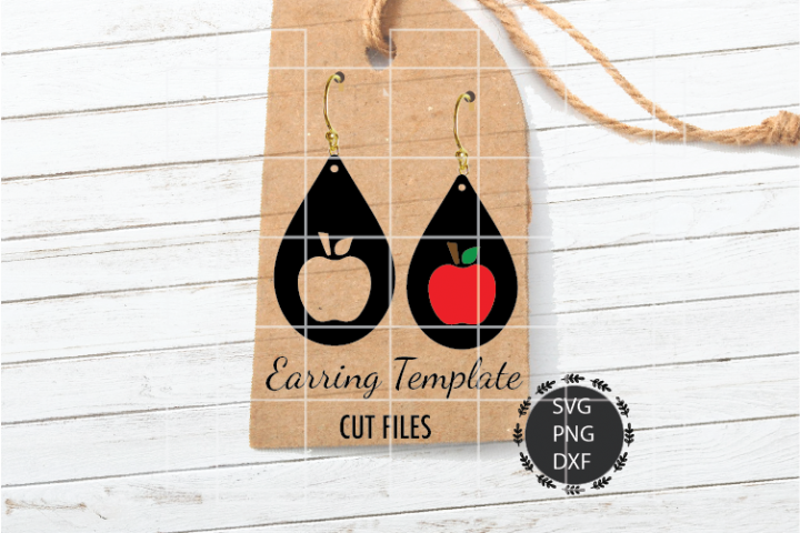 Apple Earrings Svg, Teacher Earrings Svg, Tear Drop Svg