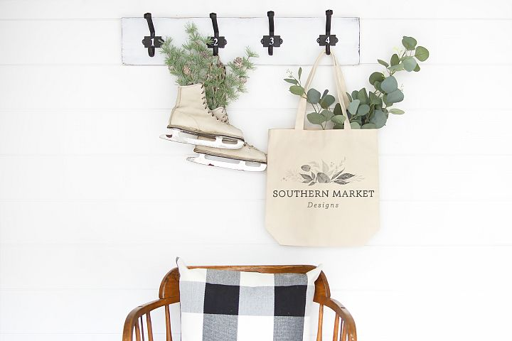 Blank Canvas Tote Mockup Christmas Winter Farmhouse Styled P