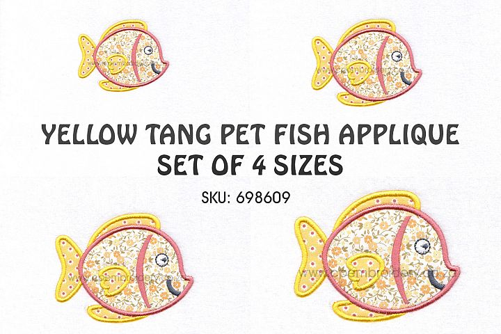 Yellow Tang Pet Fish Applique Machine Embroidery Design