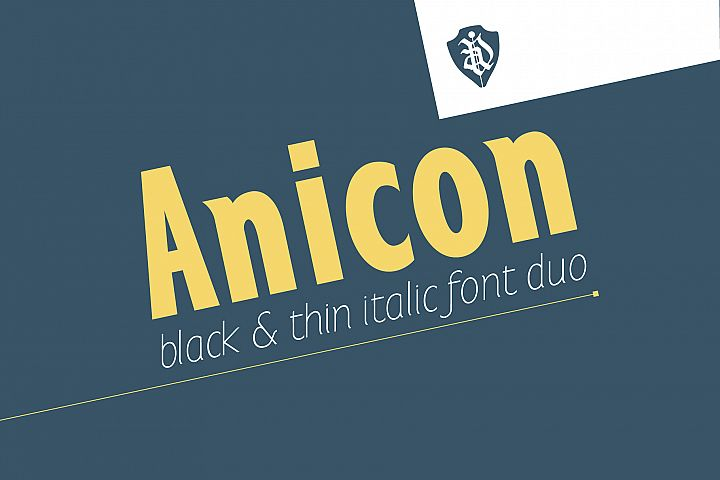 Anicon Black&Thin italic