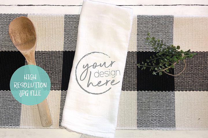 Tea Flour Sack Towel Mockup | Buffalo Plaid Background