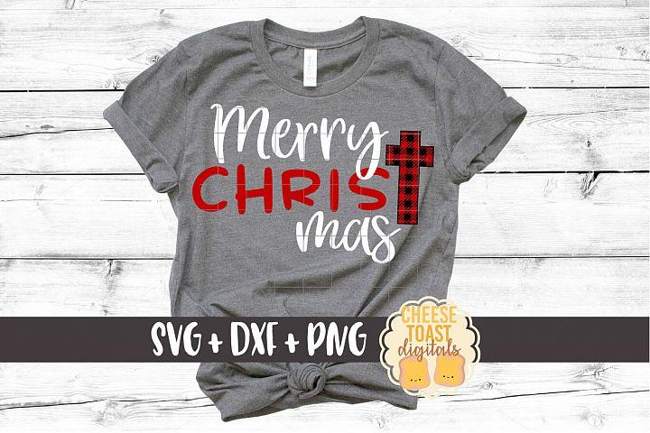 Merry Christ-Mas - Christmas SVG Files - Buffalo Plaid Cross