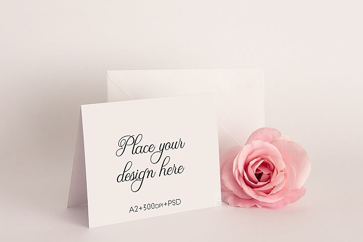 A2 Greeting Card psd Mockup horizontal standing invitation