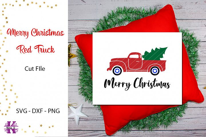 Merry Christmas Red Truck SVG Cut FIle