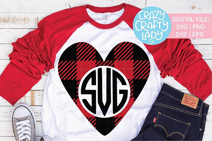 Buffalo Plaid Heart Monogram Frame SVG DXF EPS PNG Cut File