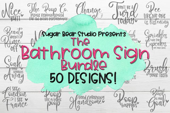 Bathroom Sign Bundle - 50 Bathroom Sign SVGs