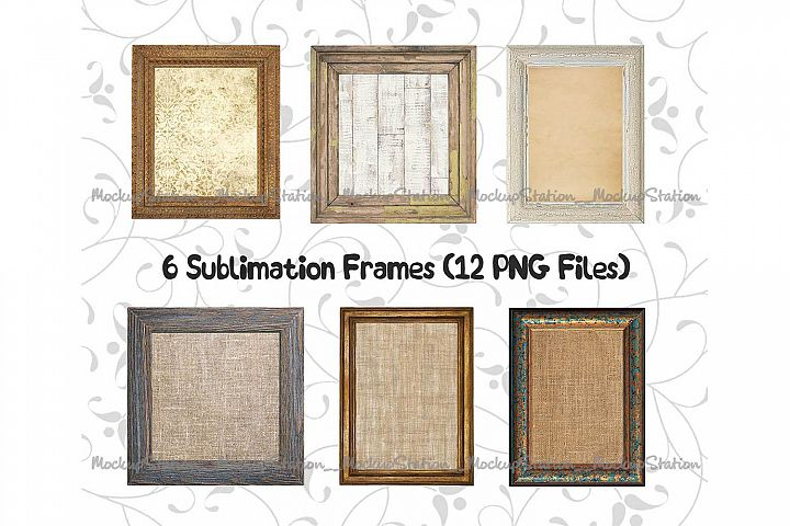 Sublimation Wood Frame PNG Bundle, Picture Photo Planner PNG