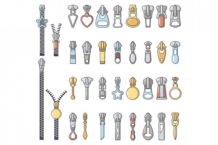 Metal zipper puller icons set, cartoon style