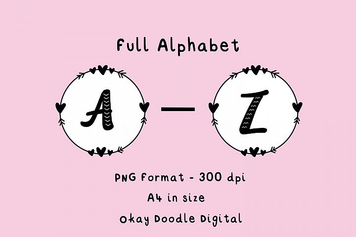 Printable Full Alphabet A-Z - PNG files, digital download.