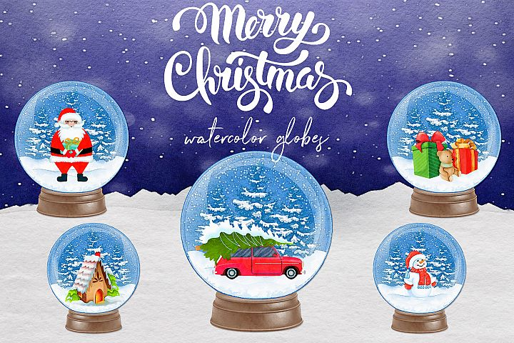 Watercolor Snow Globes