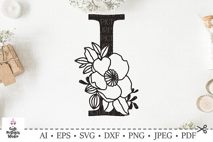 Botanical alphabet svg. Floral letter I svg. Bundle SVG, DXF