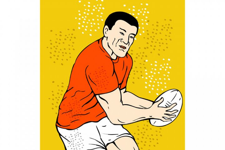 rugby player running passing the ball