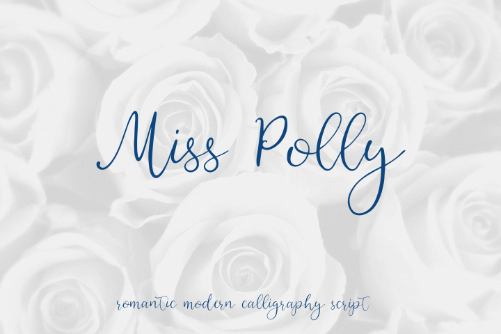 Miss Polly, romantic modern calligraphy script