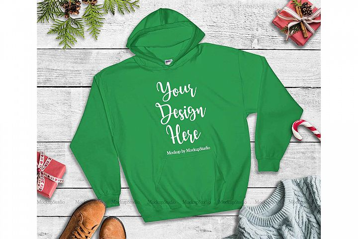 Green Christmas Hoodie Mockup, Winter Holiday Flat Lay